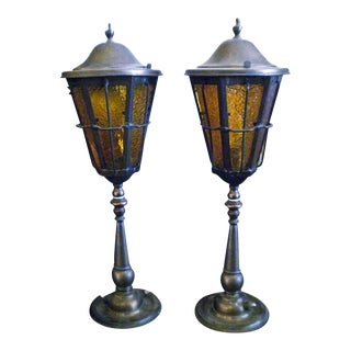 Copper Table Lamps With Amber Glass - a Pair