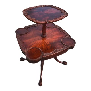 Antique Chippendale Style Rotating Pie Crust Carved Mahogany Table