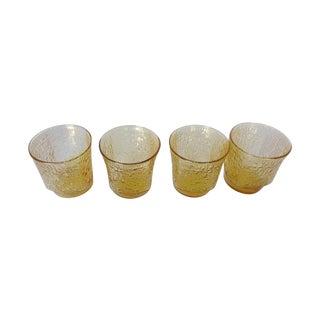 Mid-Century Modern Juice Glasses in Amber