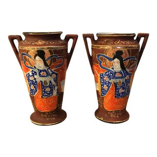 Japanese Hand Painted Vase - A Pair