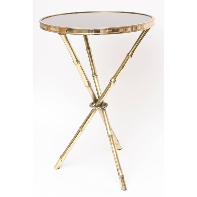 Image of Chic Italian Polished Brass and Granite Faux Bamboo Tripod Side Table