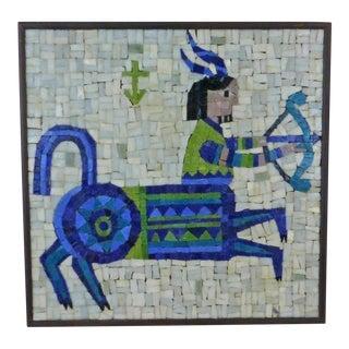 1960s Mid-Century Evelyn Ackerman Sagitarius Zodiac Mosaic