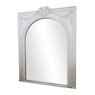 White Painted Figural Over Mantel Mirror