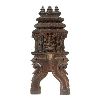 "Antique Wood Carving with Ganesh 18"" h India"