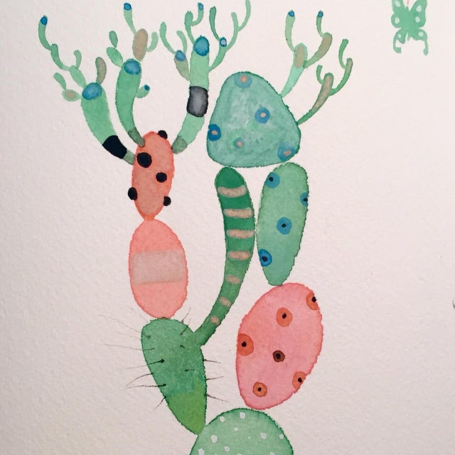 """Picaso Cactus"" Watercolor Painting, Steve Klinkel - Image 1 of 3"
