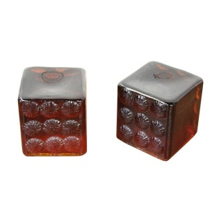 Blenko Glass Amber/Red Cube Bookends - Pair