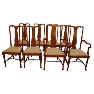 Antique Queen Anne Dining Chairs - Set of 8