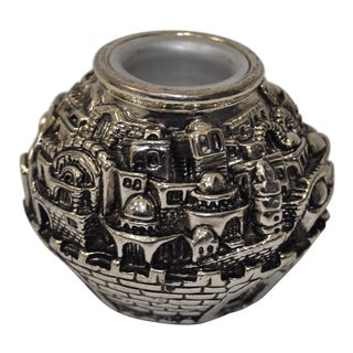 "H. Karshi Israeli Sterling 925 ""Holy Land"" Candle Holder"