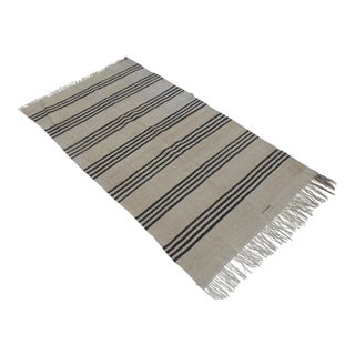 Vintage Natural Stripe Turkish Sisal Kilim Rug - 4′6″ × 8′2″