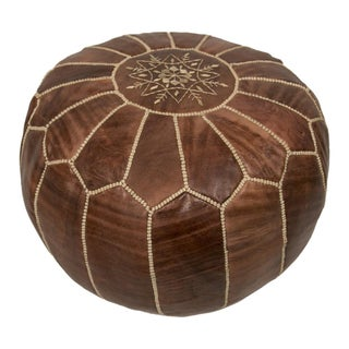 Embroidered Chesnut Leather Pouf