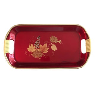 Red Grapevine Motif Snack Tray