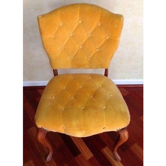 Vintage Slipper Chair in Yellow Velvet - Image 2 of 4