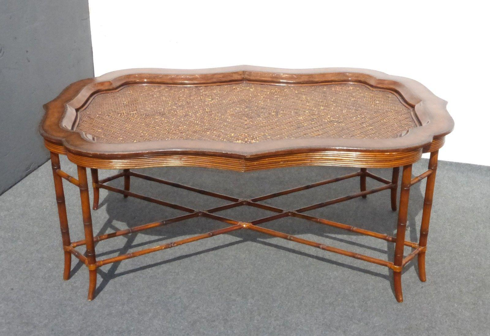 Exceptional Maitland Smith Rattan U0026 Leather Coffee Table   Image 2 Of 11