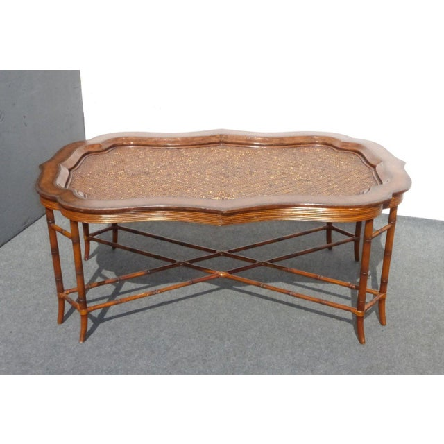 Image of Maitland-Smith Rattan & Leather Coffee Table - Maitland-Smith Rattan & Leather Coffee Table Chairish