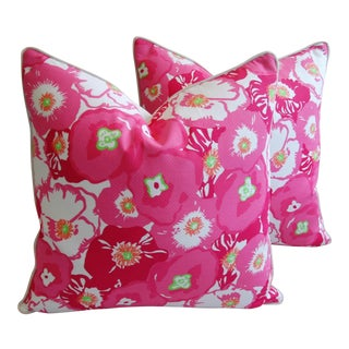 Summer!!! Lilly Pulitzer-Inspired/Style Pink Begonia Blossom Pillows - Pair