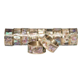 Vintage Abalone and Silver Napkin Rings - Set of 12