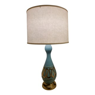 Mid-Century Modern Aqua & Gold Table Lamp