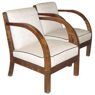 Pair of Danish Modern Birchwood Armchairs