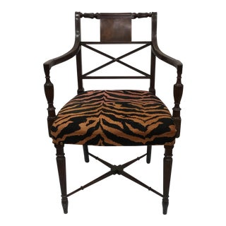 Classical Armchair with Tiger Fabric
