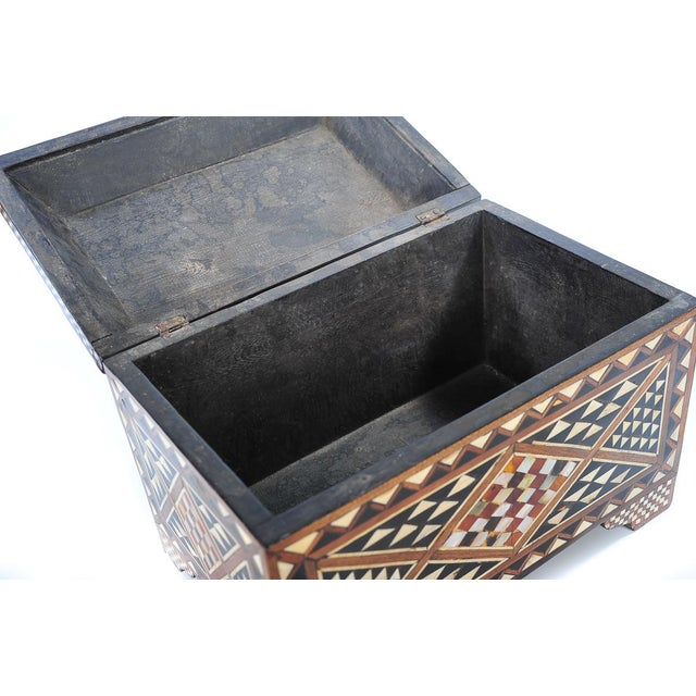 19th Century Syrian Inlaid Wooden Treasure Chest - Image 8 of 9