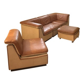Vintage Rapport Brown Leather Sectional Sofa - Set of 5