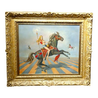 'Nude on Carousel Horse' Surreal Oil Painting