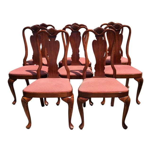 Queen Anne Style Mahogany Dining Chairs - Set of 8 - Image 1 of 7