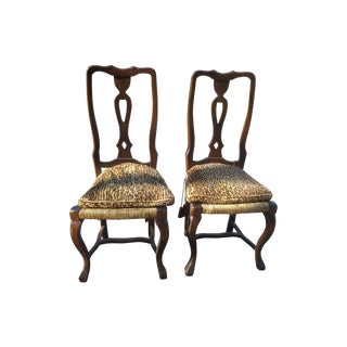 Italian Walnut & Leopard Dining Chairs - Set of 4