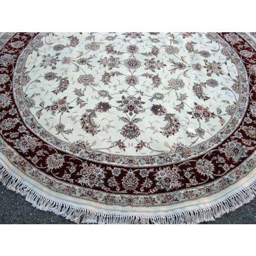 Hand Woven Silk Kashan Rug - 7' x 7' - Image 4 of 6