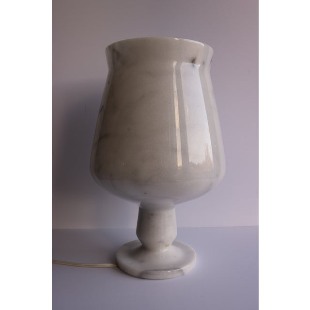 Vintage White Amp Gray Marble Urn Table Lamp