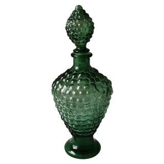 Vintage Dark Green Decanter with Bubble Motif