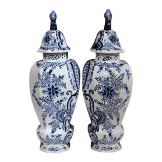 19th Century Hand-Painted Blue & White Delft Vases with Lids - A Pair