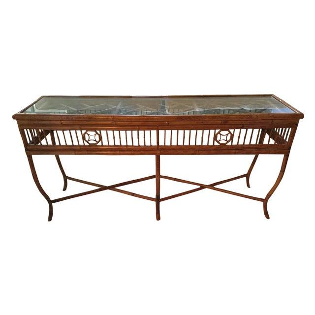 Bamboo Amp Glass Console Table Chairish