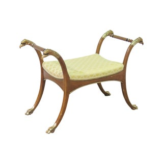 Regency Style Yellow Upholstered Bench