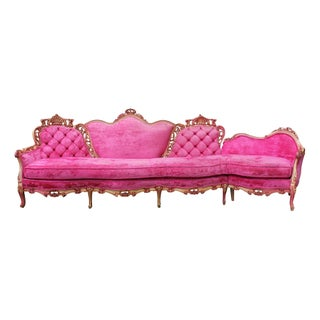Italian Fuchsia Velvet Tufted Sofa