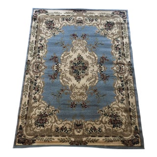 Aubusson French Blue and Gray Rug - 5′3″ × 7′2″