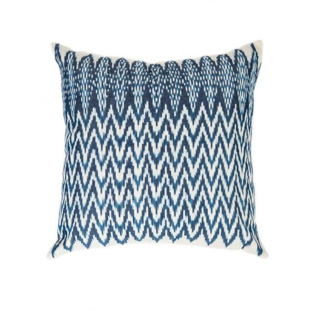 Zigzag Indigo Ikat Handwoven Guatemalan Pillow - Image 1 of 8
