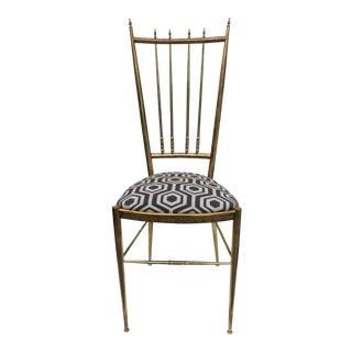 Italian Chiavari Brass Desk/ Accent Chair.