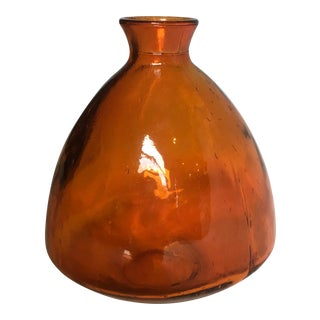 Burnt-Orange Pressed Glass Vase