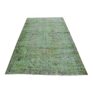Vintage Handwoven Turkish Green Oushak Carpet - 5′4″ × 9′2″