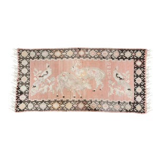 Pink Turkish Kilim Flat-Weave Rug - 3′5″ × 6′9″