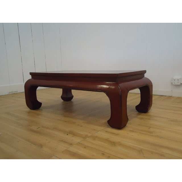 Chinese Dark Red Laquer Wood Coffee Table - Image 5 of 7