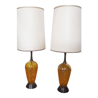 Matching Amber Glass Lamps - Pair