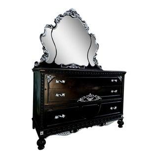 Black & Silver Victorian Dresser & Mirror