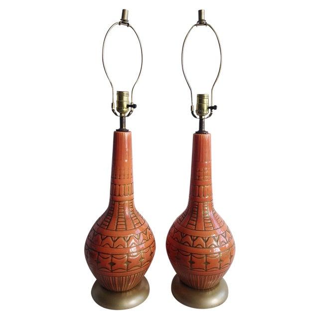 Image of Orange Mid-Century Lamps - A Pair