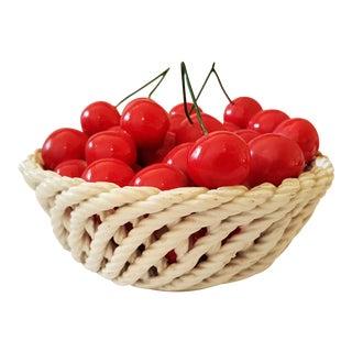 Italian Porcelain Faux Fruits & Basket Set