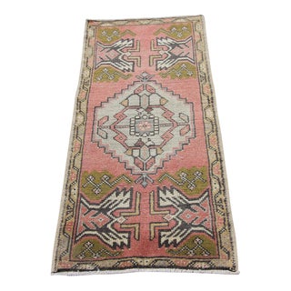 Mid-20th C. Vintage Antique Tribal Oushak Hand Knotted Turkish Rug - 1'8 X 3'9