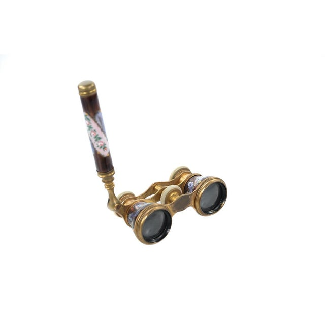 Antique 19th C French Enamel & Brass Opera Glasses - Image 2 of 9