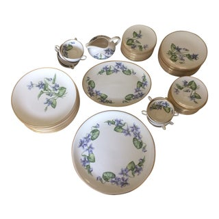 Vintage Franciscan China Olympic with Purple Violet Flowers - Set of 12