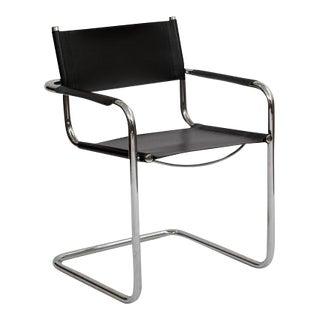 Italian Cantilever Chrome & Leather Armchair
